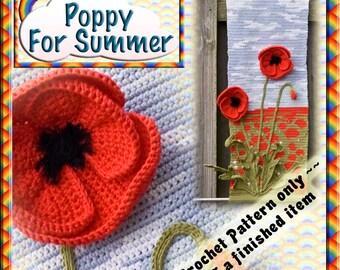 PDF Crochet Pattern Poppy for Summer  Four Seasons Wall Hangings