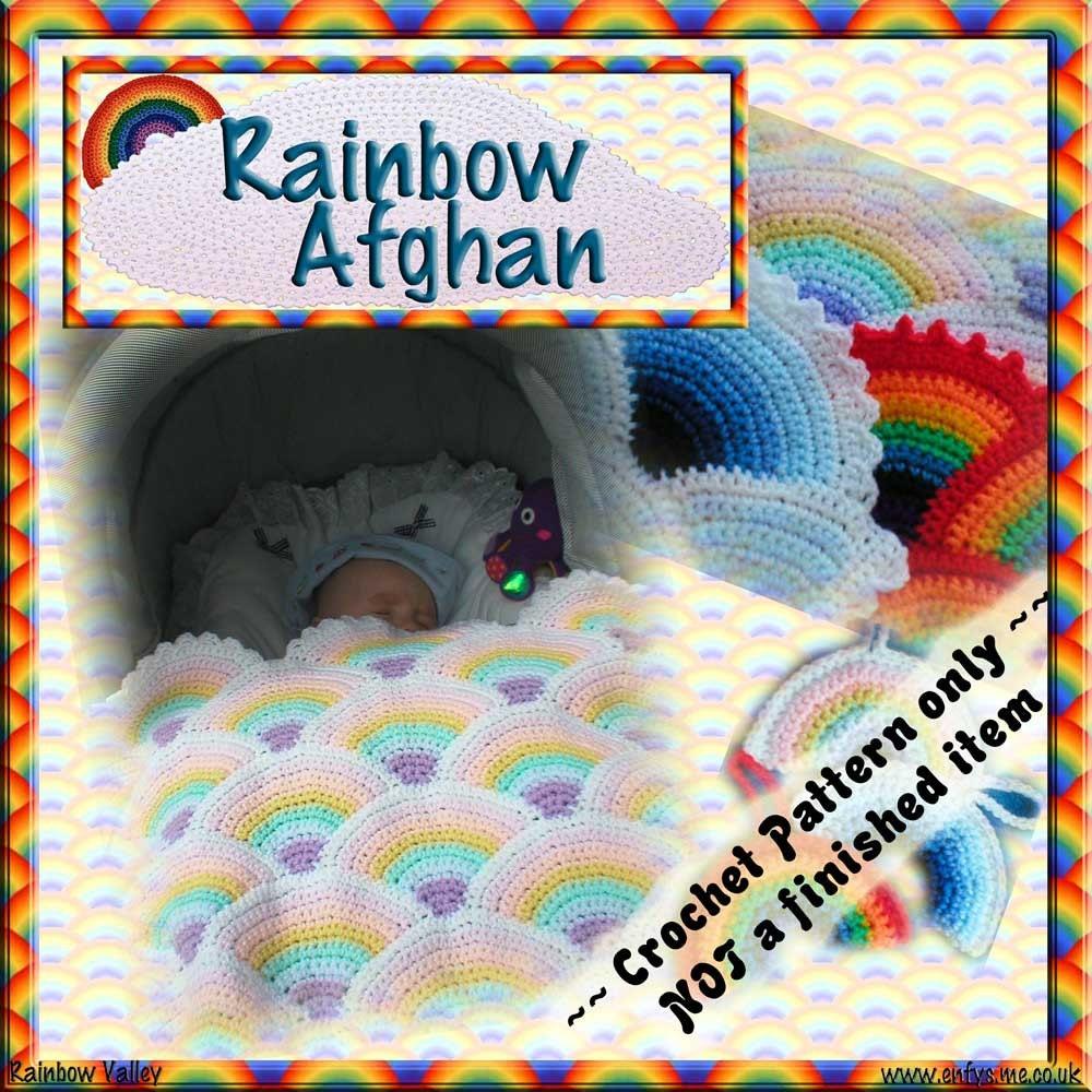 Crochet Rainbow Baby Blanket Pattern By Flavia : PDF Crochet Pattern Rainbow Baby Afghan