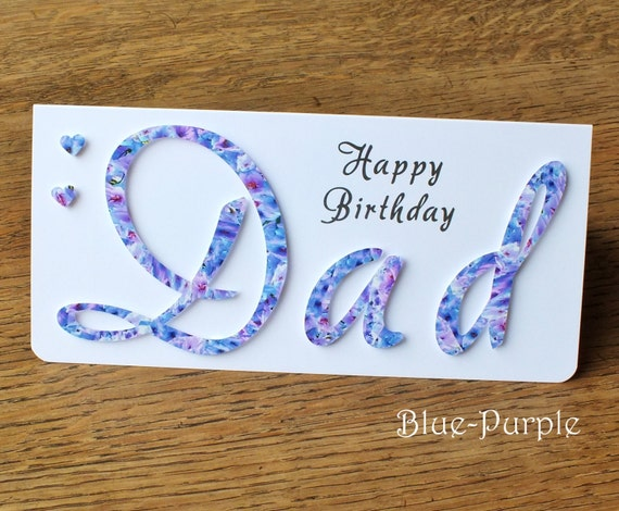 handmade 'dad' birthday card personalised happy, Birthday card