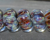 Shimmeing Tetons Handmade Boro Lampwork Glass Bead Set Beads by Christina Burkhart
