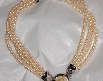 Vintage Richelieu Faux Pearl  Three Strand Choker Necklace