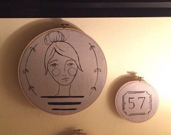 Original art work india ink on natural linen in wood embroidery hoop collection of three pieces french girl stripes, bicycle, #57