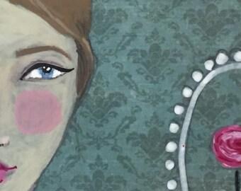 "Wallflowers ""Primrose"" mixed media painting 6x6 canvas original art black bow white collar rose frame"