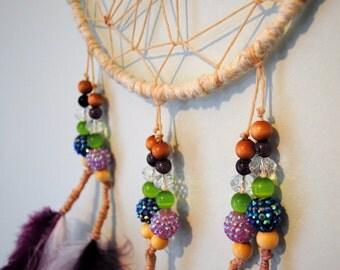 Purple, Green, and Cream Modern Dream Catcher Wall Hanging