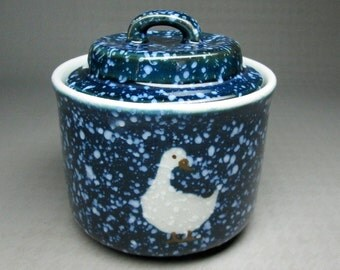 otagiri SPACKLED GOOSE sugar bowl with lid  speckled snow