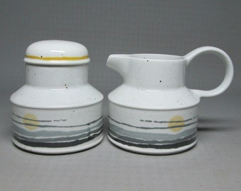 midwinter stonehenge NIGHT creamer and sugar bowl with lid