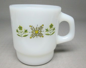 anchor hocking / fire king MEADOW GREEN pattern 4 mugs   yellow and green leaves / flowers