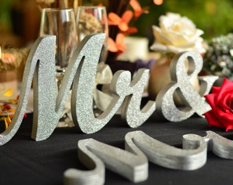 Mr. and. Mrs.. sign set. Wedding sign set. Sweetheart table decor wooden signs.