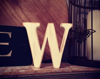 Freestanding Wooden Letter - Lowercase 'w' - 28cm - georgian font - various colours and finishes available