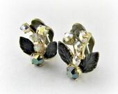 Vintage Purple Flower Earrings, AUSTRIAN, AB Crystal Earrings, Enamel Flower Earrings, Brass Flower Clip-on Earring, 1950s Costume Jewelry