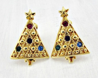 Vintage Christmas Tree Earrings, Colorful Rhinestone Earrings, Gold Clip Earrings, 1950s 60s Holiday Costume Jewelry, Gift for Mom Grandma