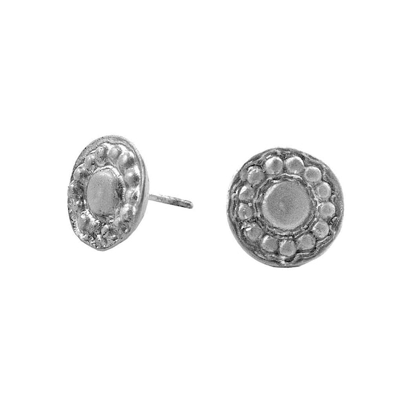 Small Brushed Disc Stud Earrings