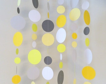 Yellow and Gray Baby Shower Decorations - Gray and Yellow Wedding decor - Circle garland - Photo Backdrop Paper Curtain- Your color choices