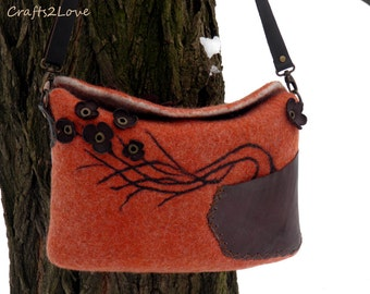 Felted bag, handbag, purse, Wet felted wool cross body bag in rust wool with brown leather pocket and flowers, Small but spacious RTS