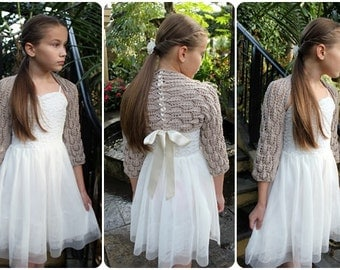 Girls Lace Shrug in linen shade with ribbon, 1-10 years, wedding, christening, baptism, flower girl, bridesmaid