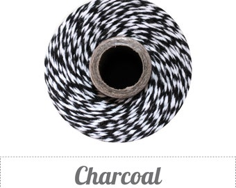 100% Cotton Twine Charcoal Bakers Twine The Twinery 240 Yard Spool Charcoal Black and White Striped Twine