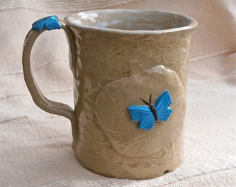 Greige and blue mug, Cup with sky blue butterflies - handbuilt stoneware