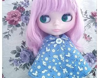 CottonCandyWorkshop Blythe Dress, vintage animal printed cape