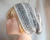 Chunky Slouchy Beanie Hat, Hand Crocheted in Black & White. Fashion Accessories for Men or Women. Winter Warmers