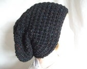 Slouchy Tweed Aran Super Chunky Beanie Hat for Men or Women, Hand Crocheted in Black. Fashion Accessories. Winter Warmers,