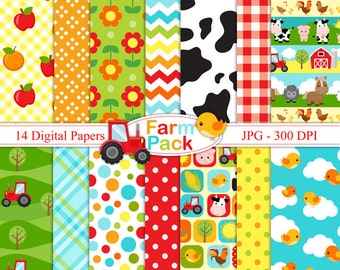 Farm Pack- Digital paper set - Farm Backgrounds