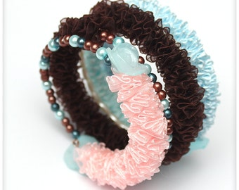 Chunky PINK, BLUE and BROWN Ribbon Bracelet