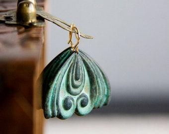 Verdigris Flourish Earrings Patina Ornament Drop Earrings Rustic Green Jewelry - E273