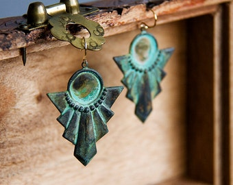 Verdigris Patina Art Deco Earrings Egyptian Jewelry Vintage Inspired Rustic Geometric Charm Turquoise Unique Jewelry - E215
