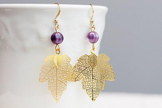 Maple Leaf Earrings Matte Filigree Pendant Purple Melon Bead - E043