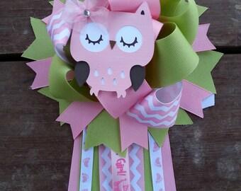 Owl baby shower mum owl baby shower corsage