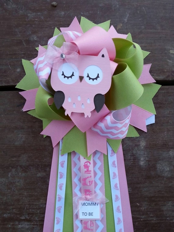 owl baby shower mum owl baby shower corsage by bonbow on etsy