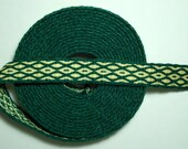 Tablet or Card Woven Trim: Dark Green and Pale Yellow
