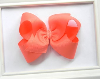Coral Boutique Hair Bow - Coral Hair Bow - Large Boutique Bow - Coral Boutique Bow