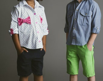 Bookworm Button Up Boys Girls Shirt PDF Sewing Pattern