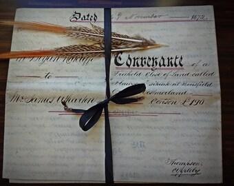 Antique Ephemera : Superb Original Hand Written 1872 Antique English Legal Manuscript Document On Vellum, Indenture