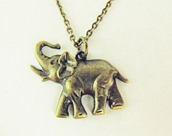 Bronze Pendant Necklace,  Small  Elephant Womens Gift  Handmade
