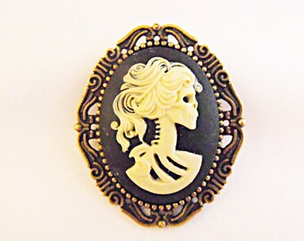 Bronze Cameo Brooch,  Large Gothic Lolita Cameo Brooch,  Womens Gift  Handmade