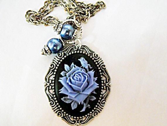 Silver Cameo Necklace,   Gothic Blue and Black Rose Cameo With Pearls   Womens Gift  Handmade