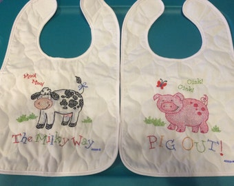 These bibs are called  on the farm but are great for either little boys ior girls