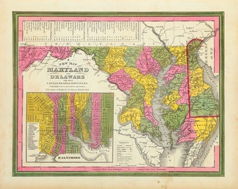 1846 Map of Maryland & Delaware