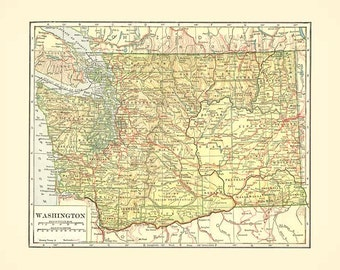 WASHINGTON STATE MAP  - Instant Digital Download reproduction