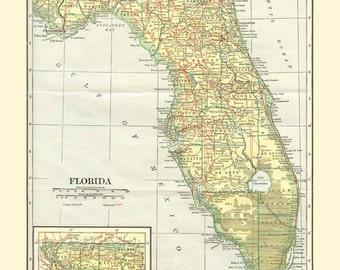 Antique FLORIDA STATE MAP Instant Digital Download