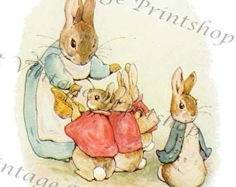 PETER RABBIT Instant 5x7 Digital Download 1905 Beatrix Potter Art Print