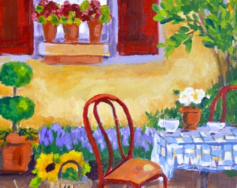 Original painting: The Cafe Painting, french country, landscape, canvas, window, shutters, red, gold, garden flowers
