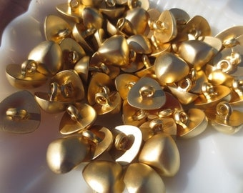 """Gold Shank Buttons Brushed Golden Triangle Dome 5/8"""" 16mm-36 pieces"""