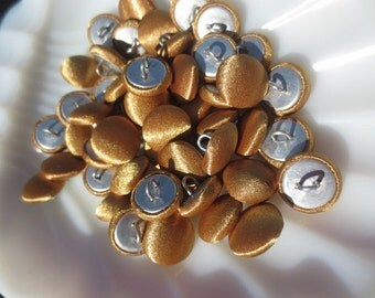 "Shank Buttons Satin Antique Gold 1/2"" Fabric Covered 13mm-48 pieces"