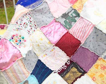 Custom MEMORY Regular Throw Sized Rag Quilt