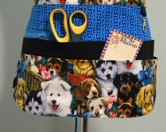 Teacher Crafter Vendor Utility Apron-Puppies