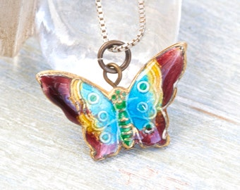 Enamel Butterfly Necklace - Colorful pendant on Chain