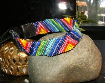 Colorful handmade beaded bracelet with leather ties